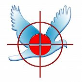 War Against Peace Symbol as Red Target Blue Dove over White Background poster