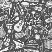 Musical instruments and music elements chalkboard seamless pattern vector illustration poster