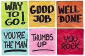 way to go, good job, well done, you're the man, thumbs up, you rock - a set of isolated sticky notes with positive affirmation words poster