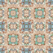 foliage abctract seamless beige and blue pattern poster