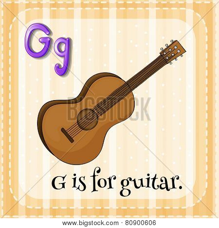 Illustration of a letter G is for guitar