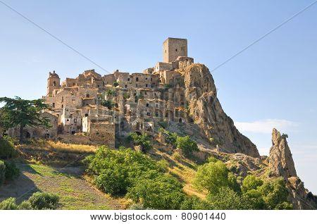 Panoramic view of Craco. Basilicata. Southern Italy.