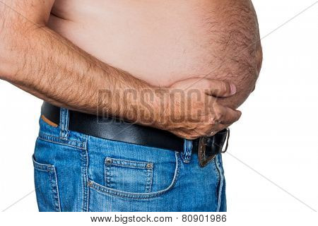 man with overweight. symbolic photo for beer belly, unsuccessful diets and poor diet poster