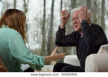 Depressed Man Showing His Emotions