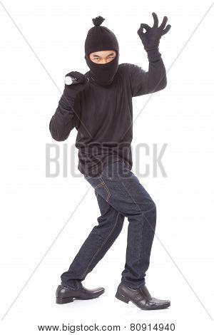 Thief holding flashlight, isolated on white background poster