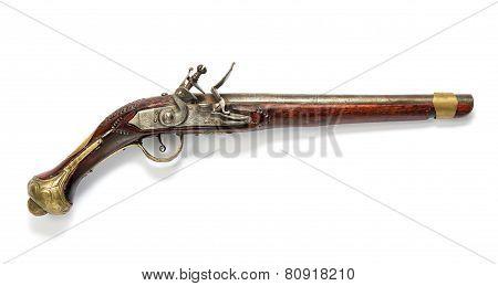 Antique Wooden Flintlock Pistol