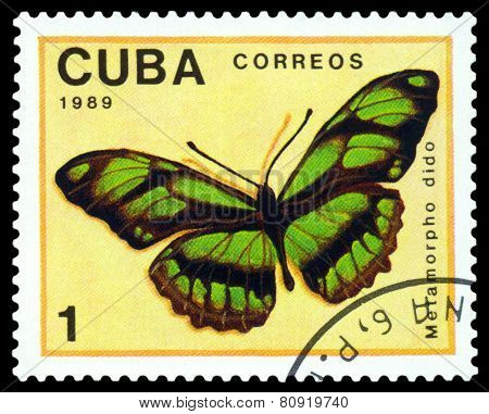 Vintage  Postage Stamp. Butterfly  Metamorpho Dido.