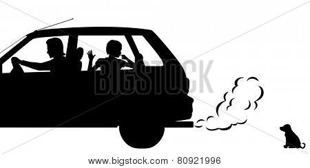 Editable vector silhouettes of a puppy being abandoned by a family driving away