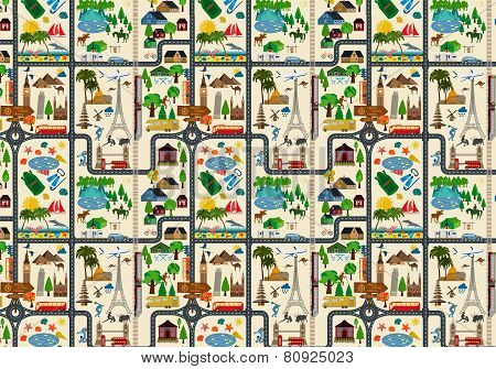 Travel background. Vacations. Beach resort, camping, excursion and landmarks seamless pattern.