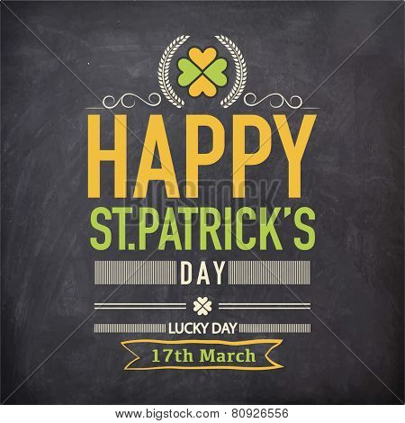 Happy St. Patrick's Day celebration poster or banner design with clover leaf on chalkboard background.