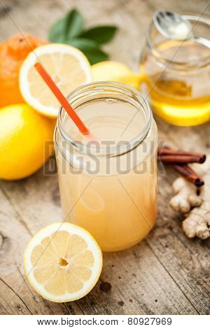 Healthy Drink Made Of  Lemon, Cinammon, Ginger And Honey