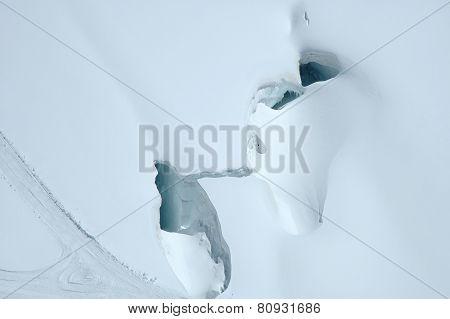 Crevasse Nearby Jungfraujoch In Alps In Switzerland