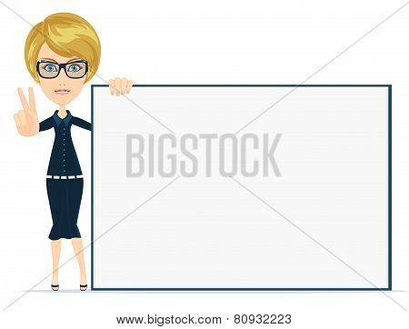 Cartoon teacher businesswoman in glasses holding large poster white board. vector