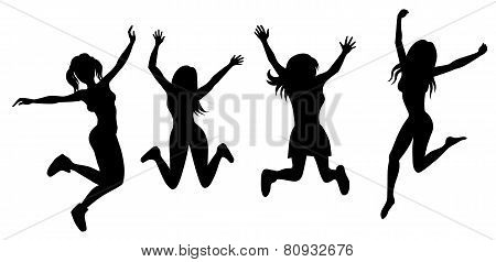 Silhouette Of Jumping Girls