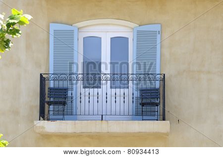Balcony With Balustrade And Louvre Doors
