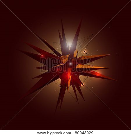 Abstract 3D Crystal Shape in Space. Vector Illustration.