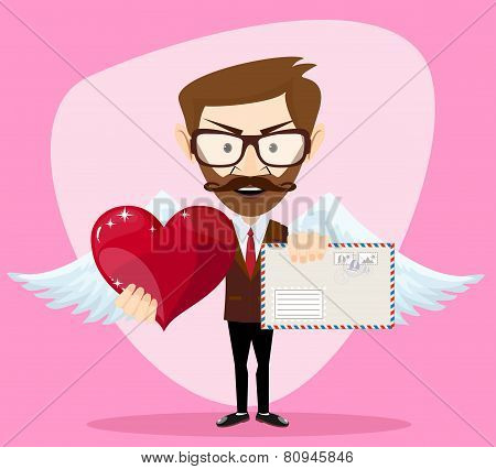 Angel Man-hipster with Wings a heart and Letter