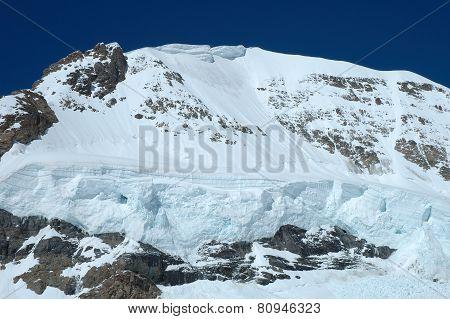 Snow On Monch Mountainside At Jungfraujoch In Switzerland