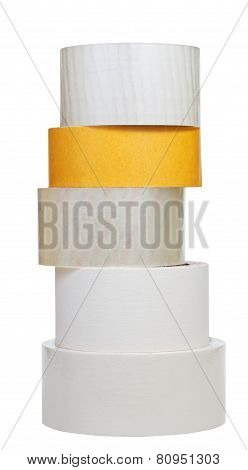 Stack Of Adhesive Tape Rolls Isolated On White