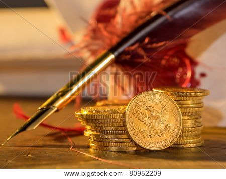 Five Dollars gold coins USD poster