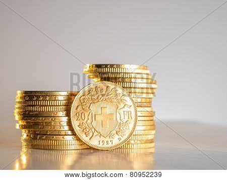 Twenty Swiss Francs gold coins poster