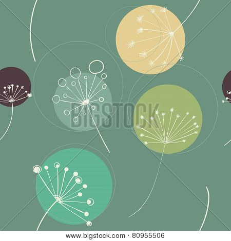 Abstract nature pattern with floral elements and circles. Vector seamless texture
