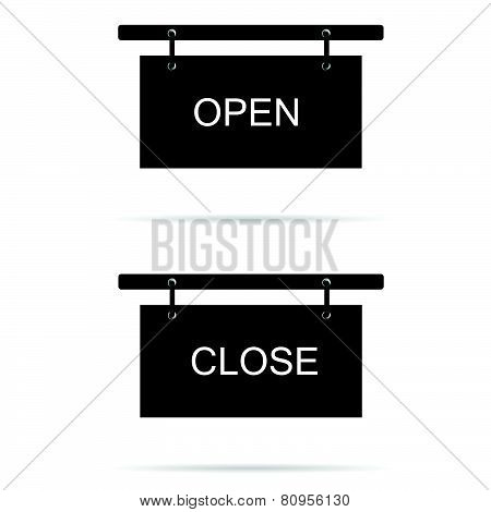 Open And Close Sign Vector Illustration