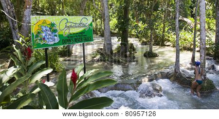 OCHO RIOS, JAMAICA - MARCH 26, 2009:  Dunn's River Falls is one of the premier attractions in Jamaica.  Thousands of visitors climb the falls every year.