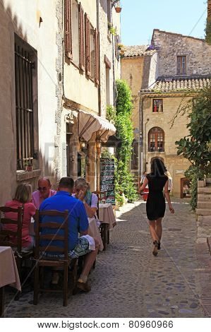 Outdoor Cafe On Beautiful Narrow Street, Provence