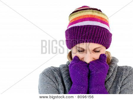 Freeze Woman With Gloves And A Hat