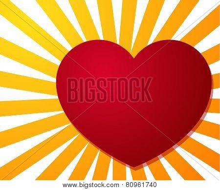 Big Red Heart On Stripe Burst Background
