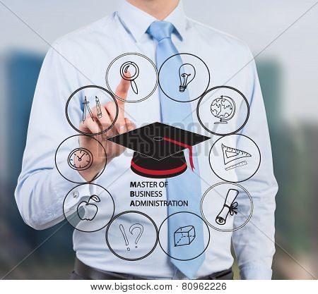 young businessman pressing mba scheme close up poster