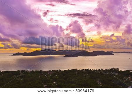 Island Praslin Seychelles at sunset - nature background