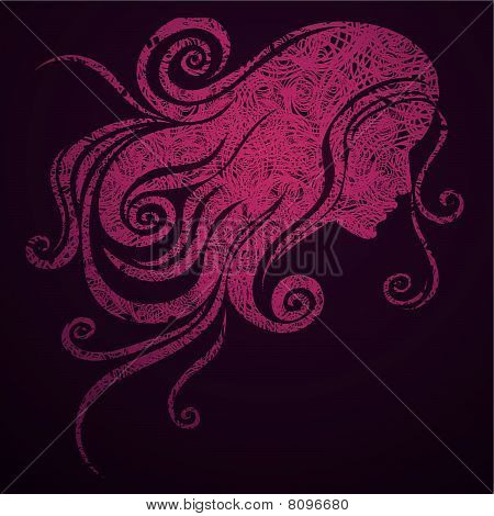 grunge pink illustration of a girl with beautiful hair