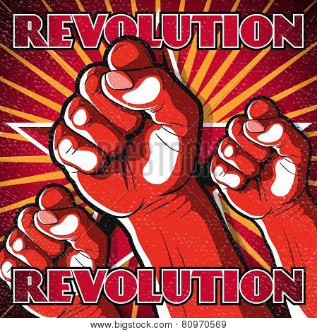 Retro Punching Fist Revolution Sign.