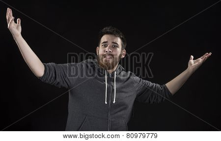 Surprise Man in Gray Jacket with Arms Open