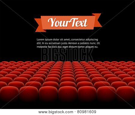 Vector red cinema, theatre seats  isolated on black background poster