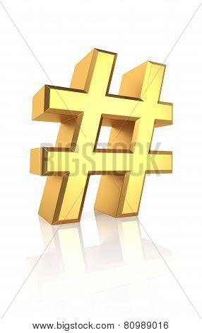 3D Gold Hash Sign