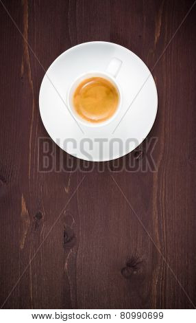 Top Of View Of One Cup Of Italian Espresso Coffee