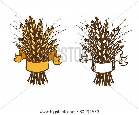 sheaf of wheat or rye on white. Eps 8