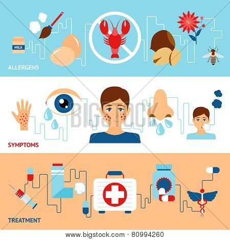 Allergy banner set with allegens symptoms treatment elements isolated vector illustration poster
