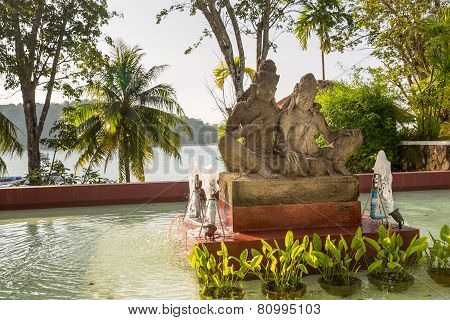 Statue On Island Of Phuket, Thailand. Thai Style Statues Acting Wai (or Sawasdee)