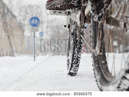 Riding A Bicycle In Winter