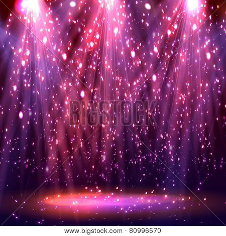 Stage spotlights. abstract festive background with bokeh defocused lights. Vector poster