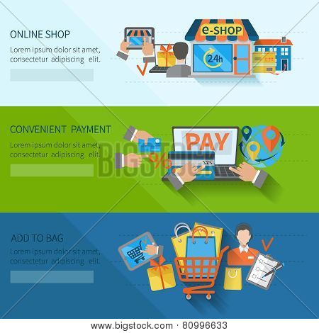 Shopping e-commerce horizontal flat banners set with online convenient payment elements isolated vector illustration poster