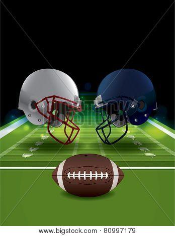 American Football Helmets Clashing On Football Field