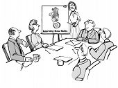 Cartoon of business people in a seminar meeting where the leader is encouraging them to learn new skills by showing a bear riding a unicycle. poster
