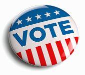 Vote USA American election campaign badge button. poster