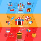 Amusement park flat horizontal banner set with funfairs carnival amazing show isolated vector illustration poster