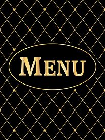 Black And Gold Gourmet Menu Cover